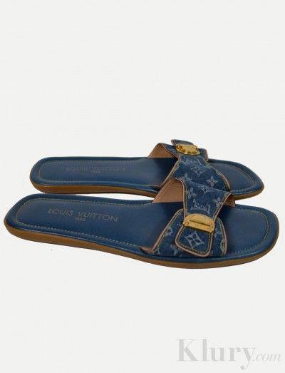 08a0fa70a5db Louis Vuitton Blue Denim Sandals-  239