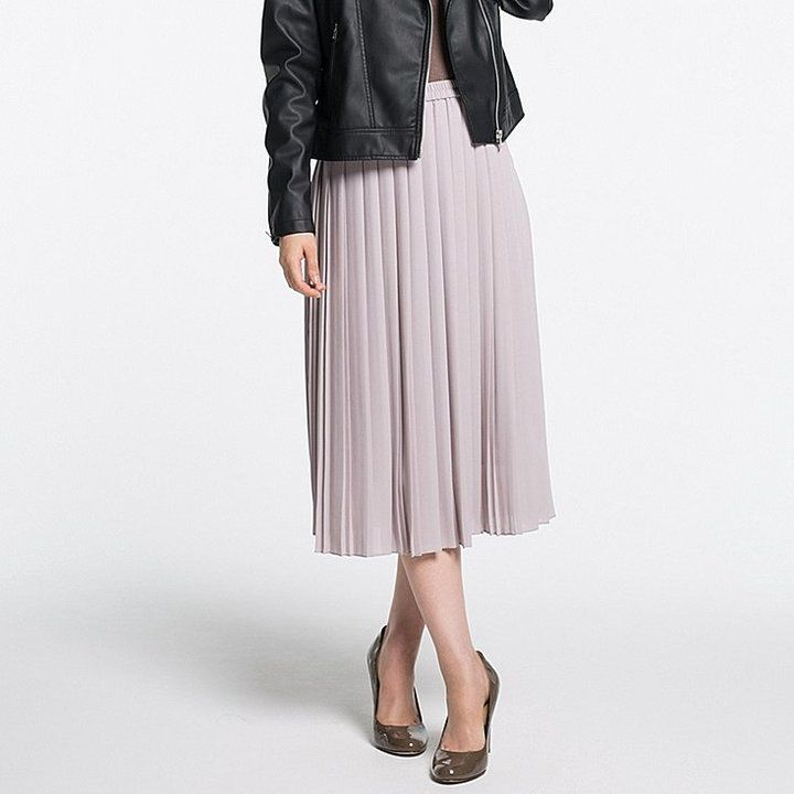 9c24f989b4 Uniqlo Women High Waist Chiffon Pleated Midi Skirt | Cute clothes in ...