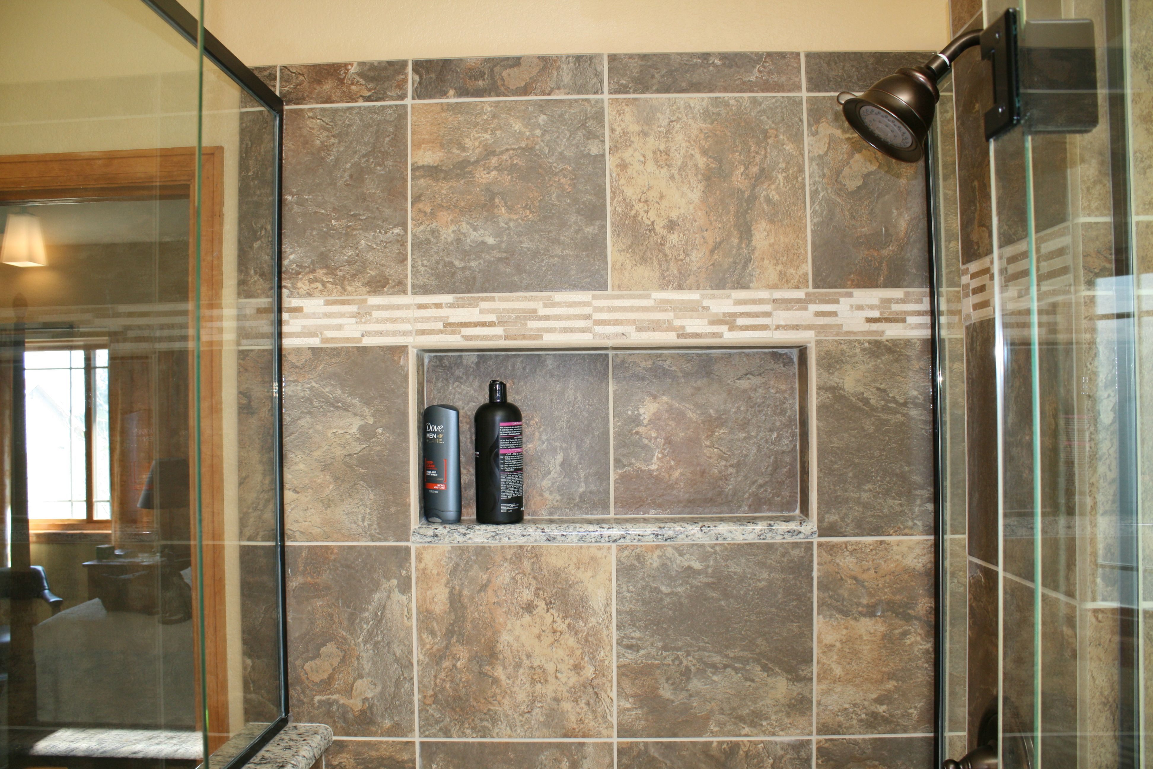 is by remodel in bathroom day insulation installed recessed wedi niche lynnwood new behind shower photos wall the