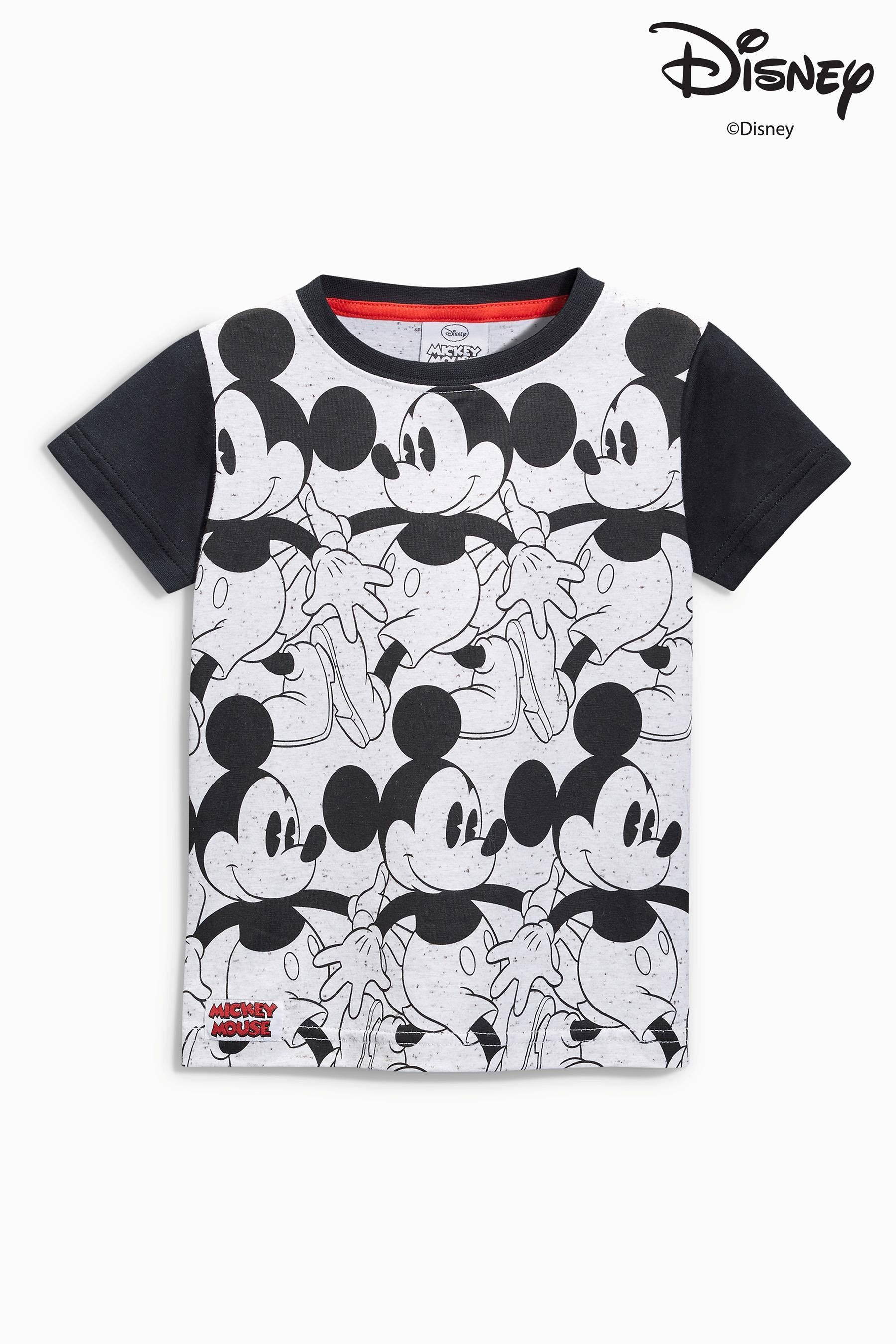 86ff5cff1 Buy Monochrome Mickey Mouse™ All Over Print T-Shirt (3mths-6yrs) from the Next  UK online shop
