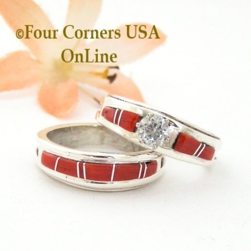 Red Coral Channel Inlay Bridal Engagement Wedding Ring Set Size 8 1