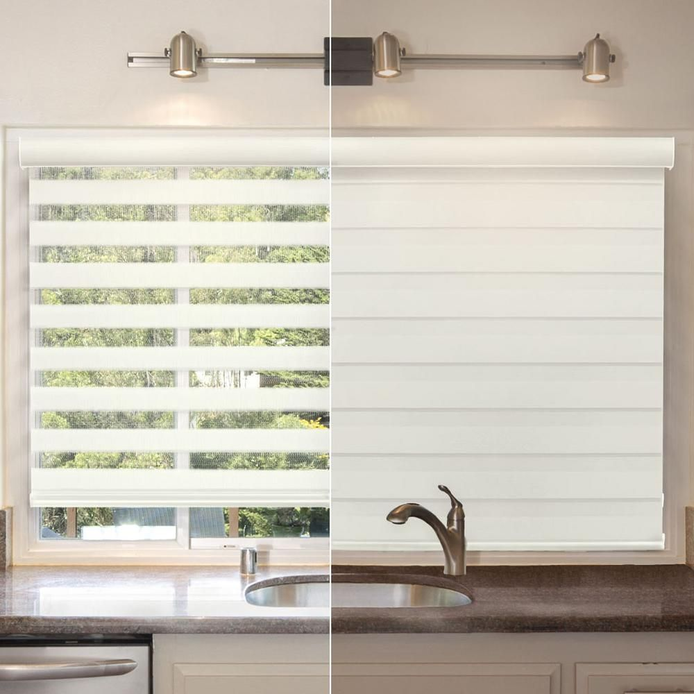 Chicology 21 In W X 72 In L Striped Dove Zebra Horizontal Roller Shade Zswi2172 The Home Depot Sheer Roller Shades Roller Shades Blinds