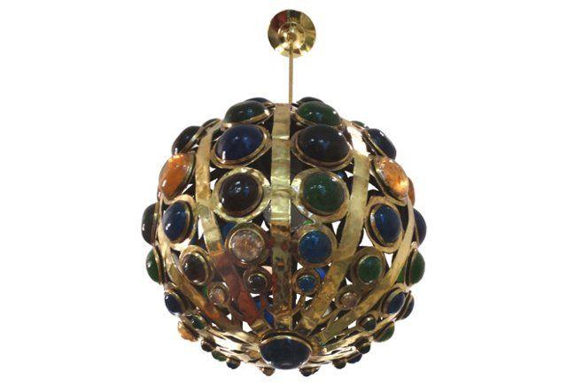 Jeweled Brass Pendant Fixture