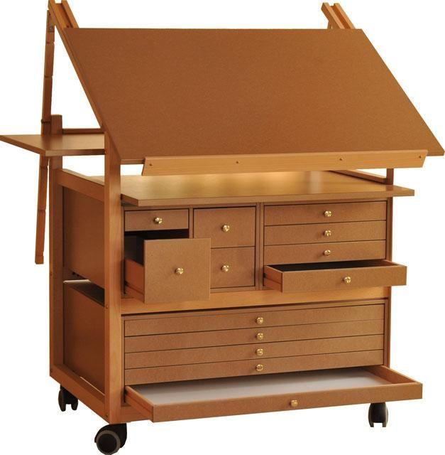 Chevalet de peinture bois et table a dessin meuble for Peinture pour meuble en bois