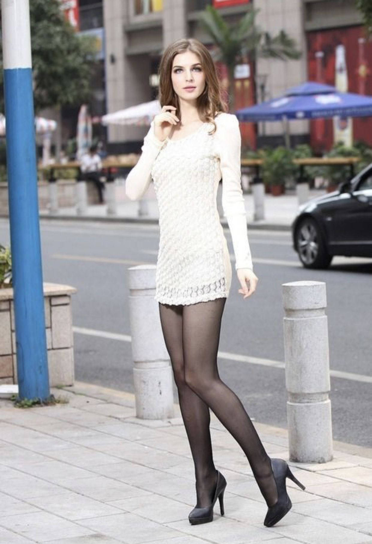 Pin By Paul Barnhardt On High Heels Fashion Pantyhose Outfits Short Dresses [ 1815 x 1242 Pixel ]