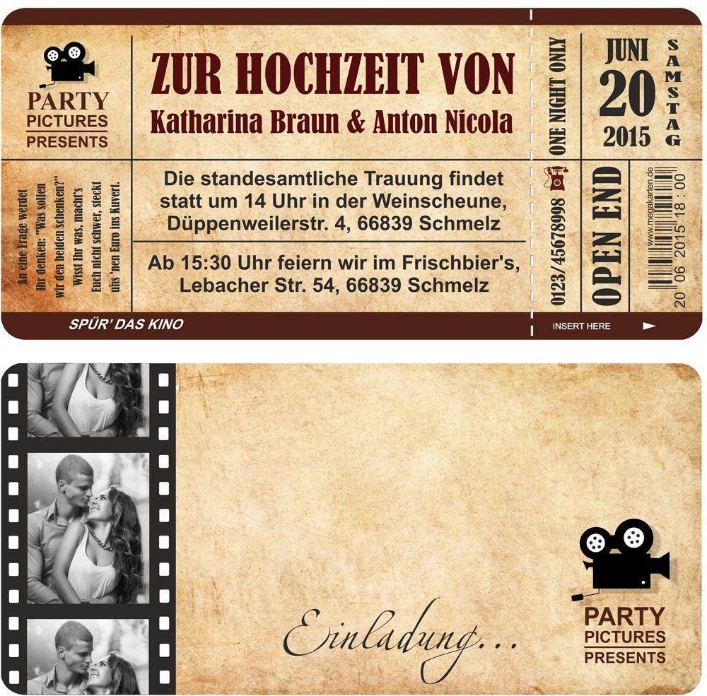 Einladungskarten Zur Hochzeit Mit Abriss Coupon Als Kino