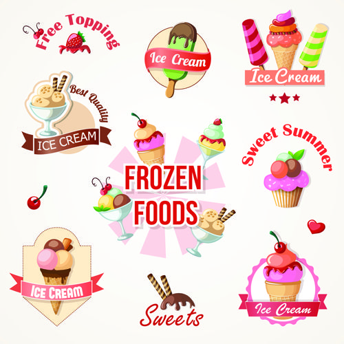 Cute Ice cream logos and labels vector 01 Ice cream logo