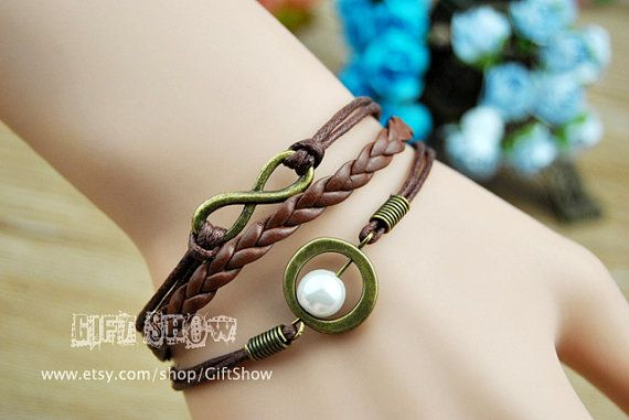 Infinity bracelet Brown wax rope braided Braided by GiftShow, $2.99 Simple fashion personalized braided leather bracelet,the best gift of friendship.