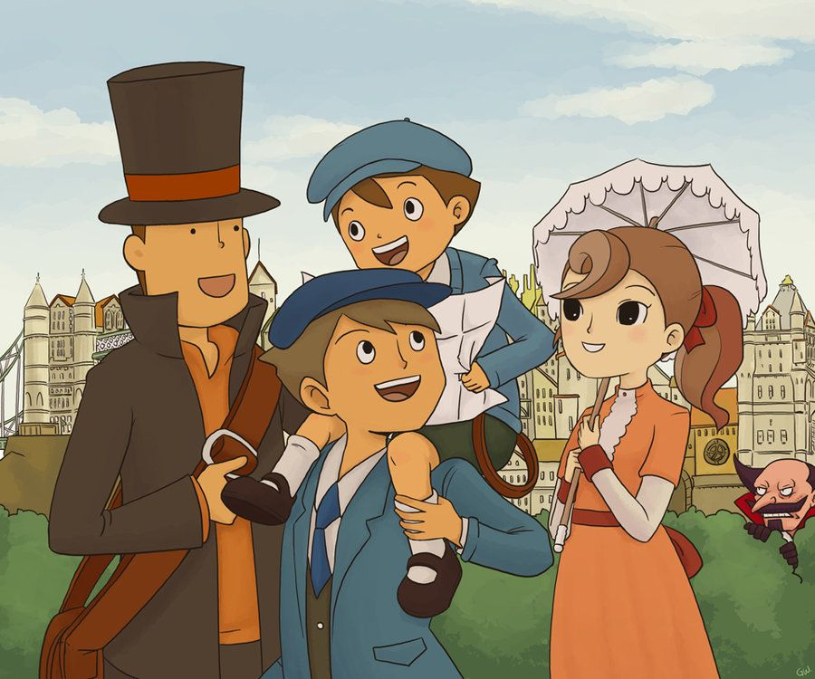 Professor Layton and the gang strolling down the park. Suck a cute picture, but Don Paulo kind of ruin it by creeping in the background.