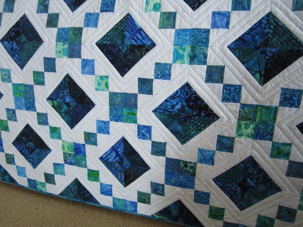 This quilt was made using a gorgeous combination of blue and ... : batik patchwork quilt - Adamdwight.com