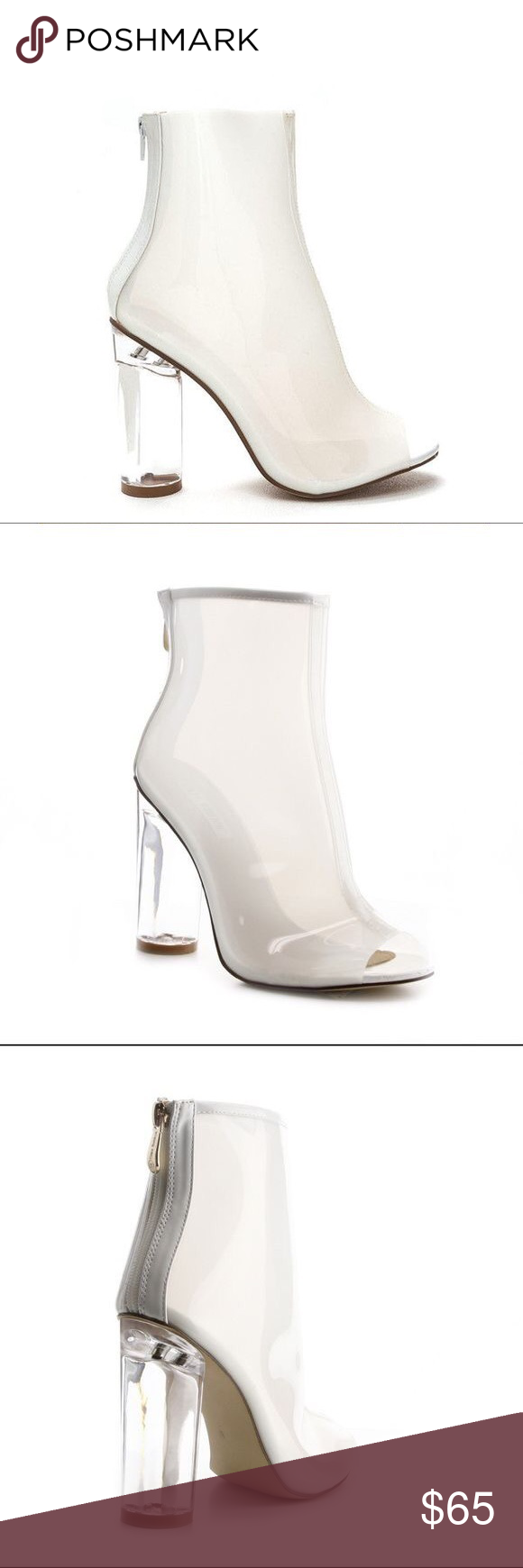 99a82d1609d My cyclinder chic clear white booties Lucite booties, liked polyvore ...