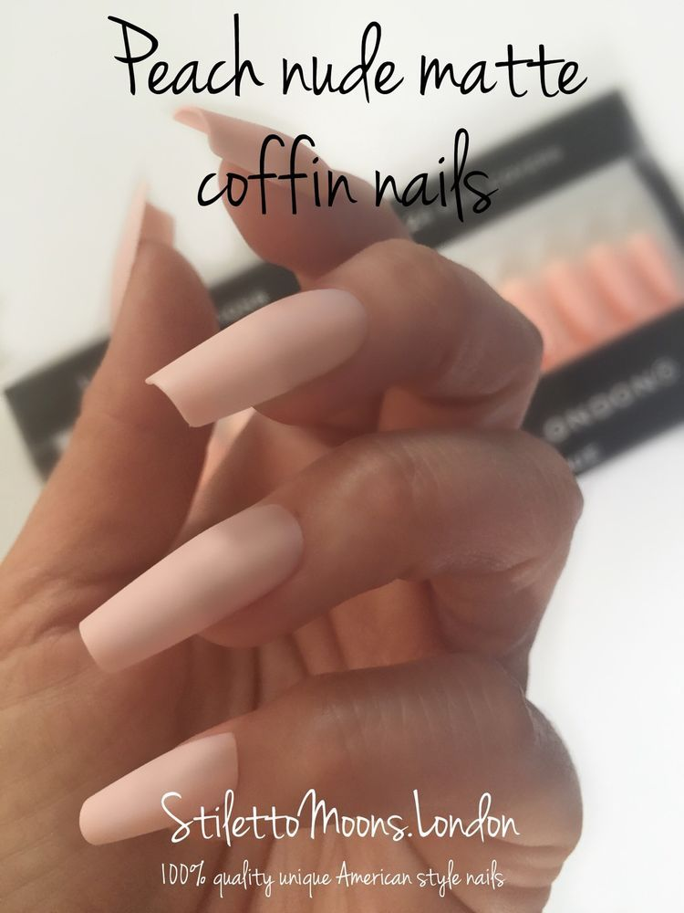 COFFIN False NAIL SALE 15 Sets 360 Pieces Full Cover peach nude ...