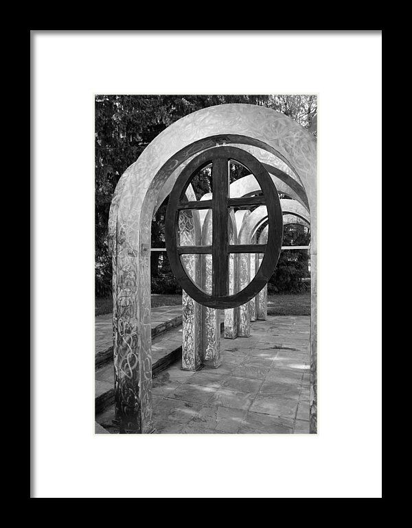 Small Park With Arches Framed Print Black White Photography By