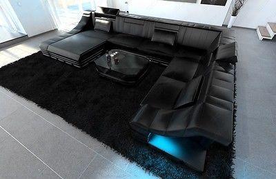 Ledercouch Luxus Wohnlandschaft Turino Xxl Led Beleuchtung Designer Sofa Ecksofa Ebay Sofa Design Ledercouch Luxus Couch