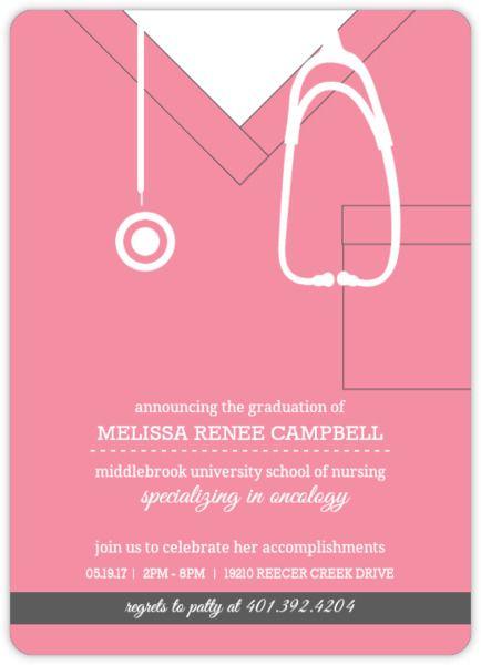 Pink Scrubs Nursing School Graduation Invitation – Medical School Graduation Invitation