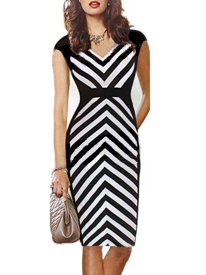c7e94c6bbe Black White V Neck Striped Slim Dress 20.94