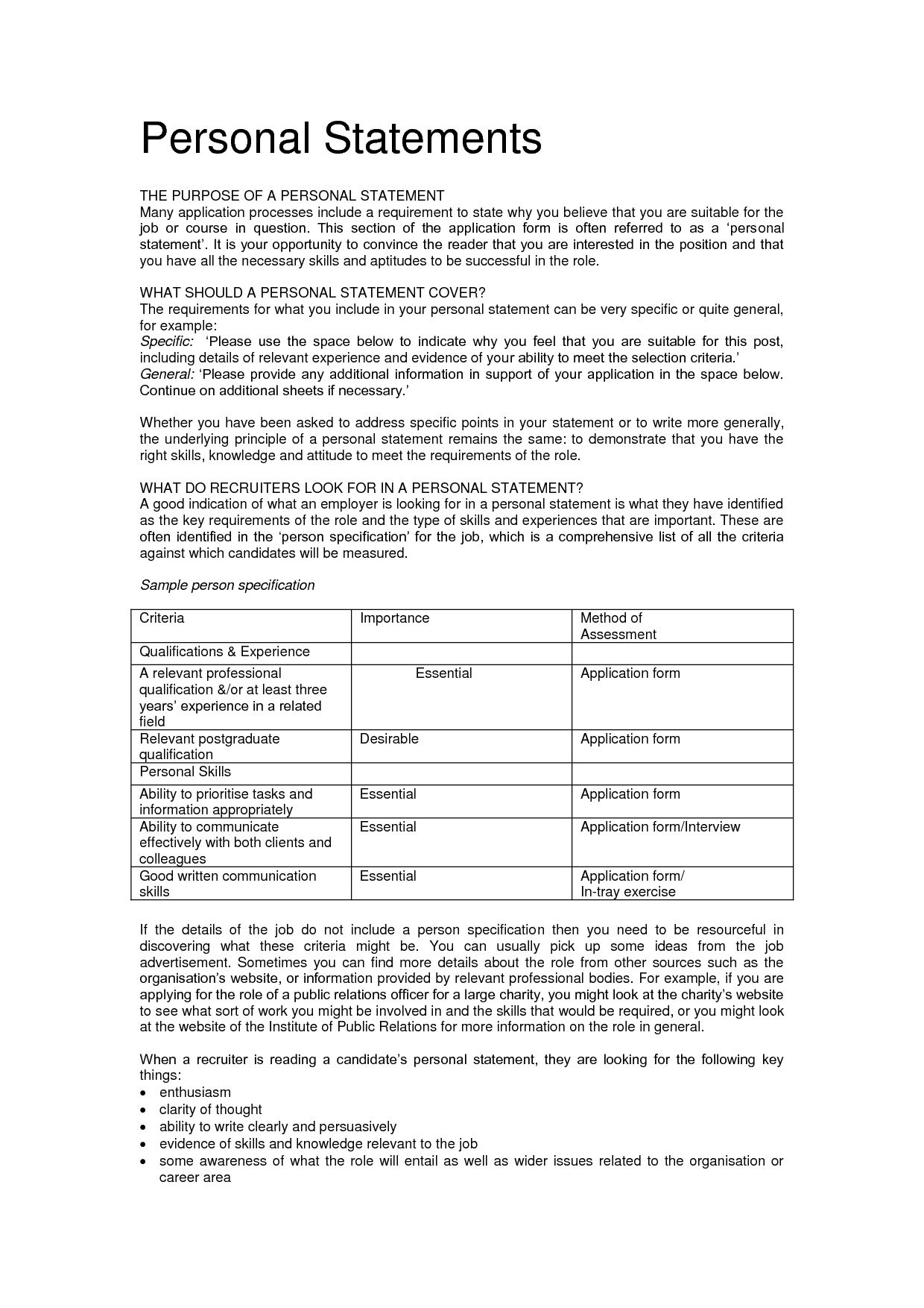 statement example resume personal template profile for examples - Examples Of Personal Statements For Resumes