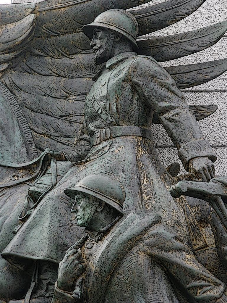 Detail of Statues on the Great War Monument to the Belgian Infantry in Brussels
