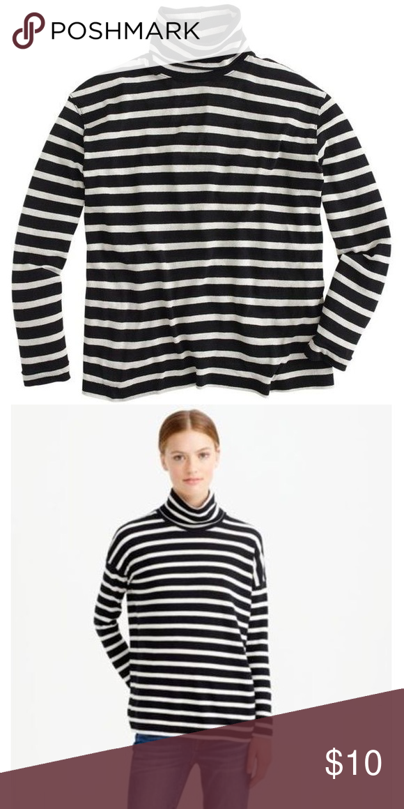 8110bd116e0 J. Crew Factory LS Striped Turtleneck Black with beige stripes. Larger  turtleneck opening. Oversized fit. Worn and washed. J. Crew Factory Tops  Tees - Long ...