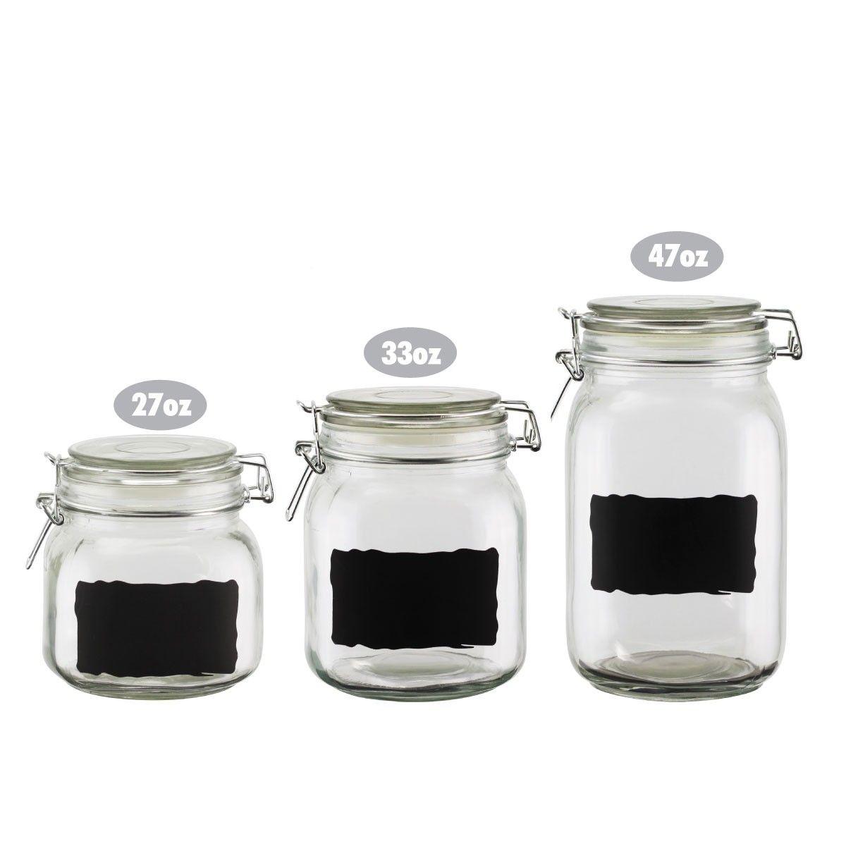 Cucina Vita Chalkboard Label Glass Jar Canister Set of 3, Quality ...