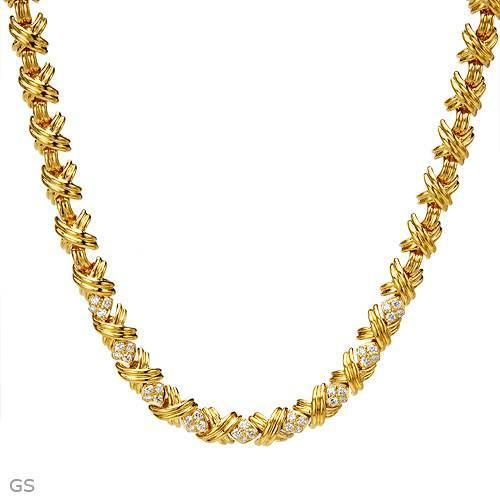TIFFANY   CO. 1.75 CTW Diamonds 18K Gold Necklace  f6ba46345