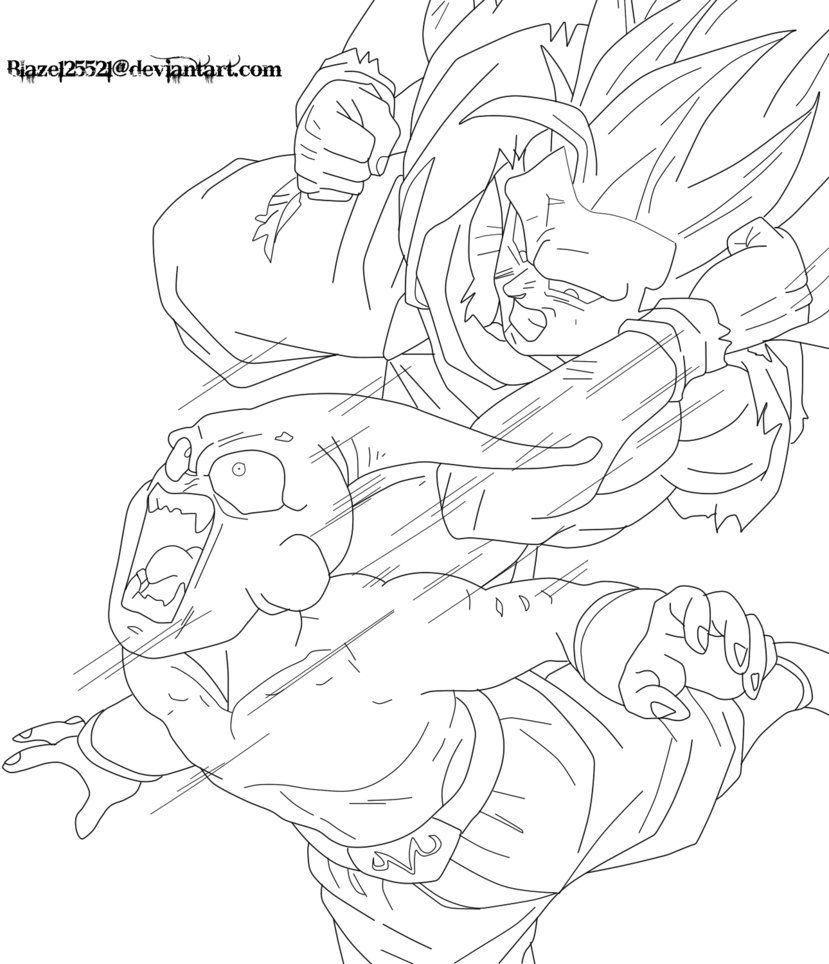 Ssj3 Goku Vs Kid Buu Lineart By Jamalc157 Dragon Ball Super Manga Dragon Ball Artwork Dragon Ball Art