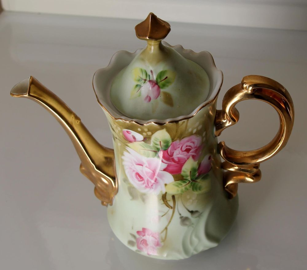 Lefton China Hand Painted Porcelain Teapot Heritage Rose Green with Gold Trim #LeftonChina