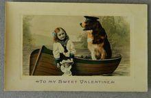 Antique Postcard Child & Newfoundland Dog