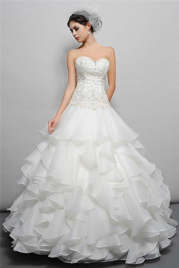 White/Ivory Ruffled Wedding Dress Bridal Gown Custom Size 2 4 6 8 10 ...