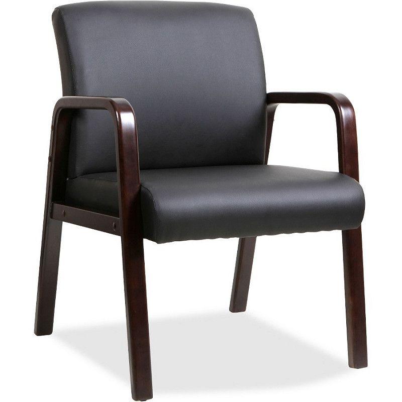 Black Leather Wood Frame Chair in Espresso LLR40201