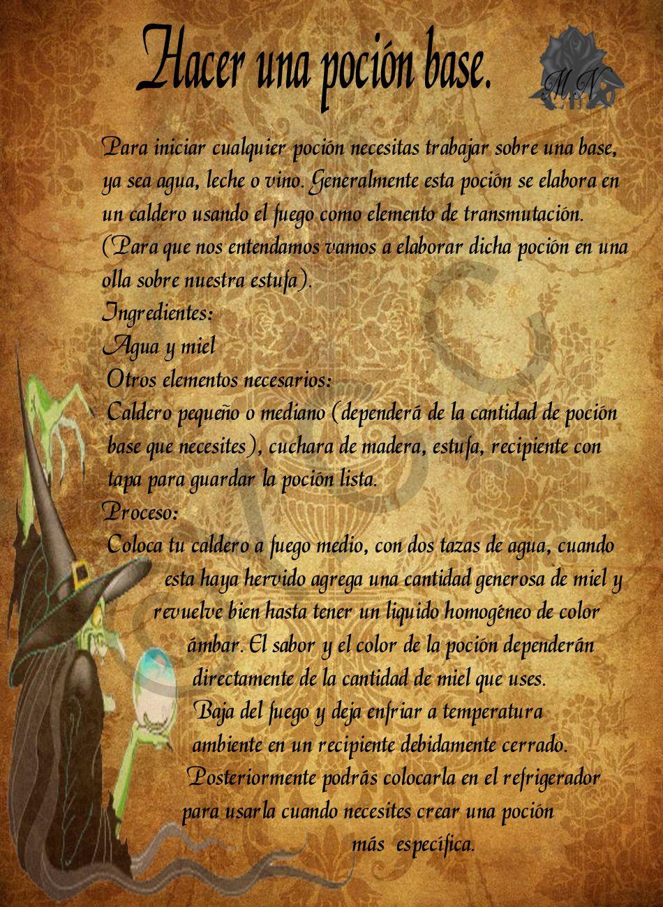 Trastos de Bruja: Poción Base … | Hechizos wicca, Brujeria
