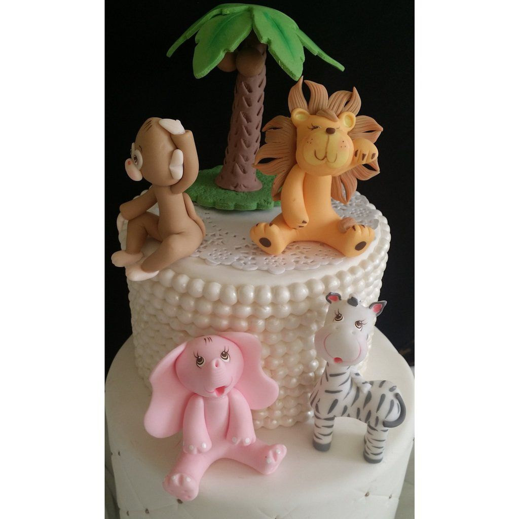 Pink Jungle Cake Decorations Girls Safari Birthday Animals Baby Topper Toppers