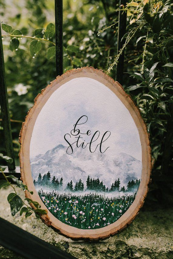 Psalm 46:10 Be Still | Wood Slice | Wood Sign | Painted Wood Slice | Painted Tree Slice | Tree Art #woodsigns