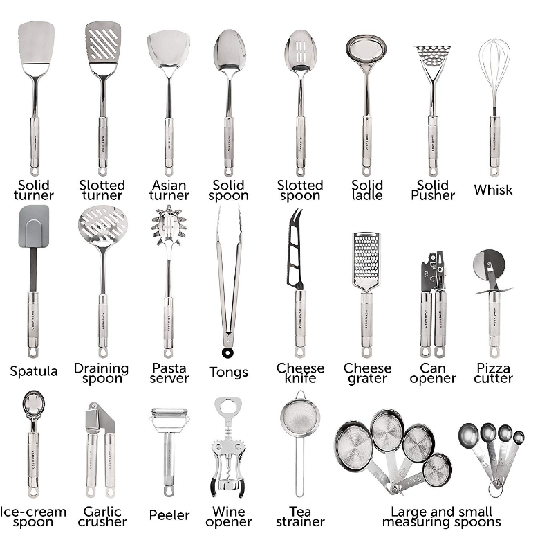 Stainless Steel Kitchen Utensil Set - 29 Cooking Utensils ...