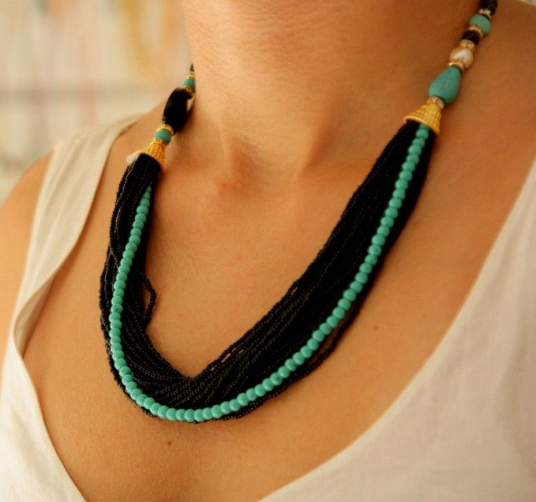 Turquoise Natural Stone Necklace #necklace #turquoise #pearl @jewelrysight
