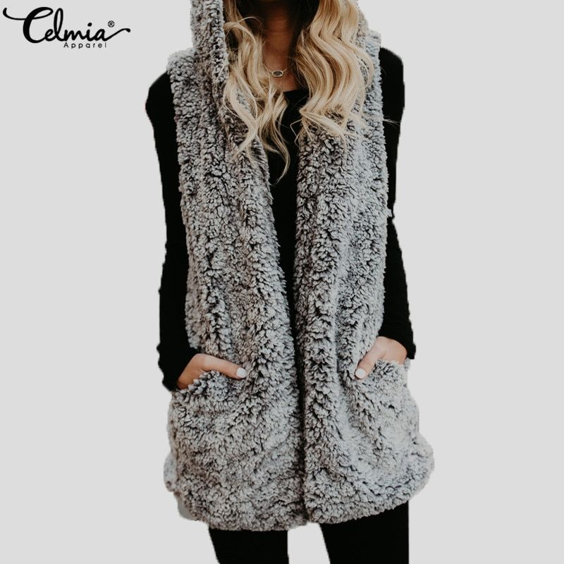 70da7d8f24b47 Celmia Plus Size Women Faux Fur Hooded Coat Winter Warm Thick Vest 2018  Ladies Casual Sleeveless Jacket Gilet Hoodies Waistcoat Price: 11.40 & FREE  Shipping ...