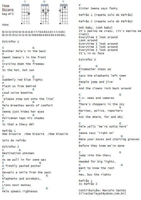 How Bizarre OMC chords | ukulele | Pinterest | Guitar chords ...