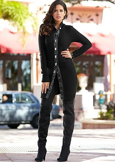 Really digging on the boots.     Car coat, basic legging, boot from VENUS.com