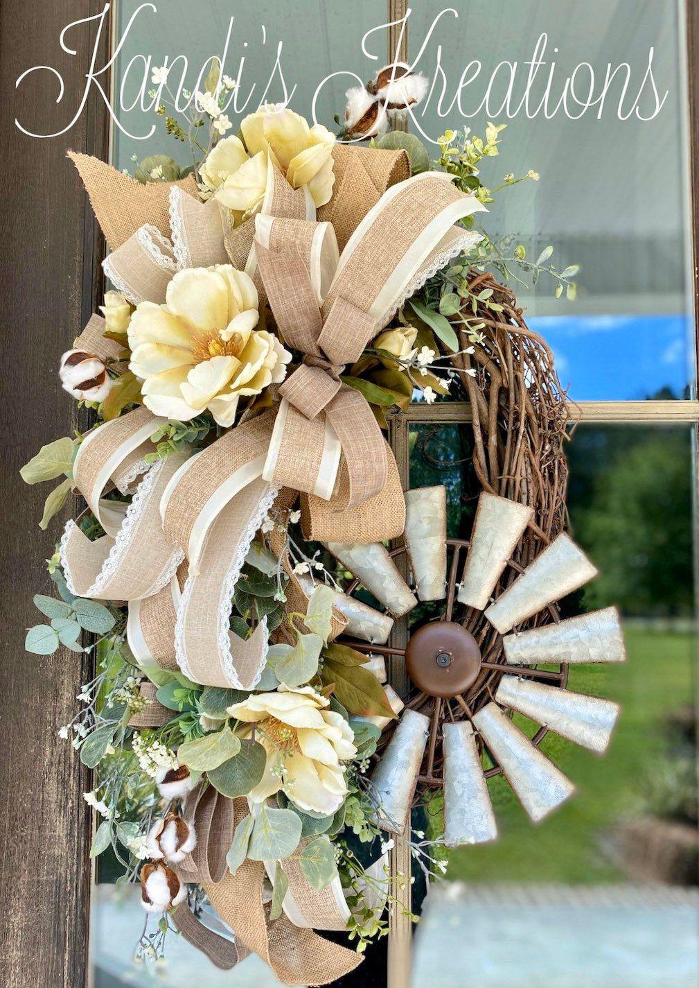 Photo of Magnolia wreath, windmill wreath, farmhouse wreath, farmstyle wreath, grapevine wreath