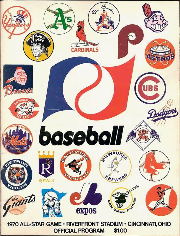 The Fleer Sticker Project 1970 All Star Game Program Baseball Classic Mlb Logos Vintage Baseball