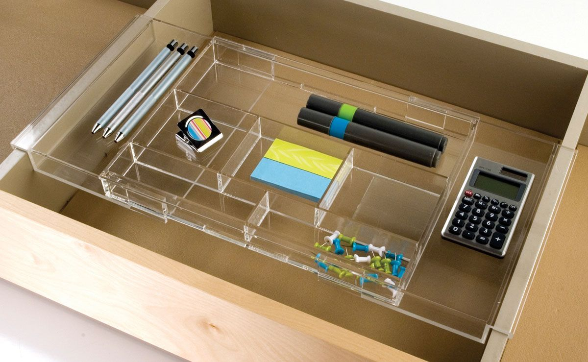 Furniture Inspiring Acrylic Drawer Organizer With Small Calculator Case Also Square Rubber Case And Re Organized Desk Drawers Hanging Drawers Desk With Drawers
