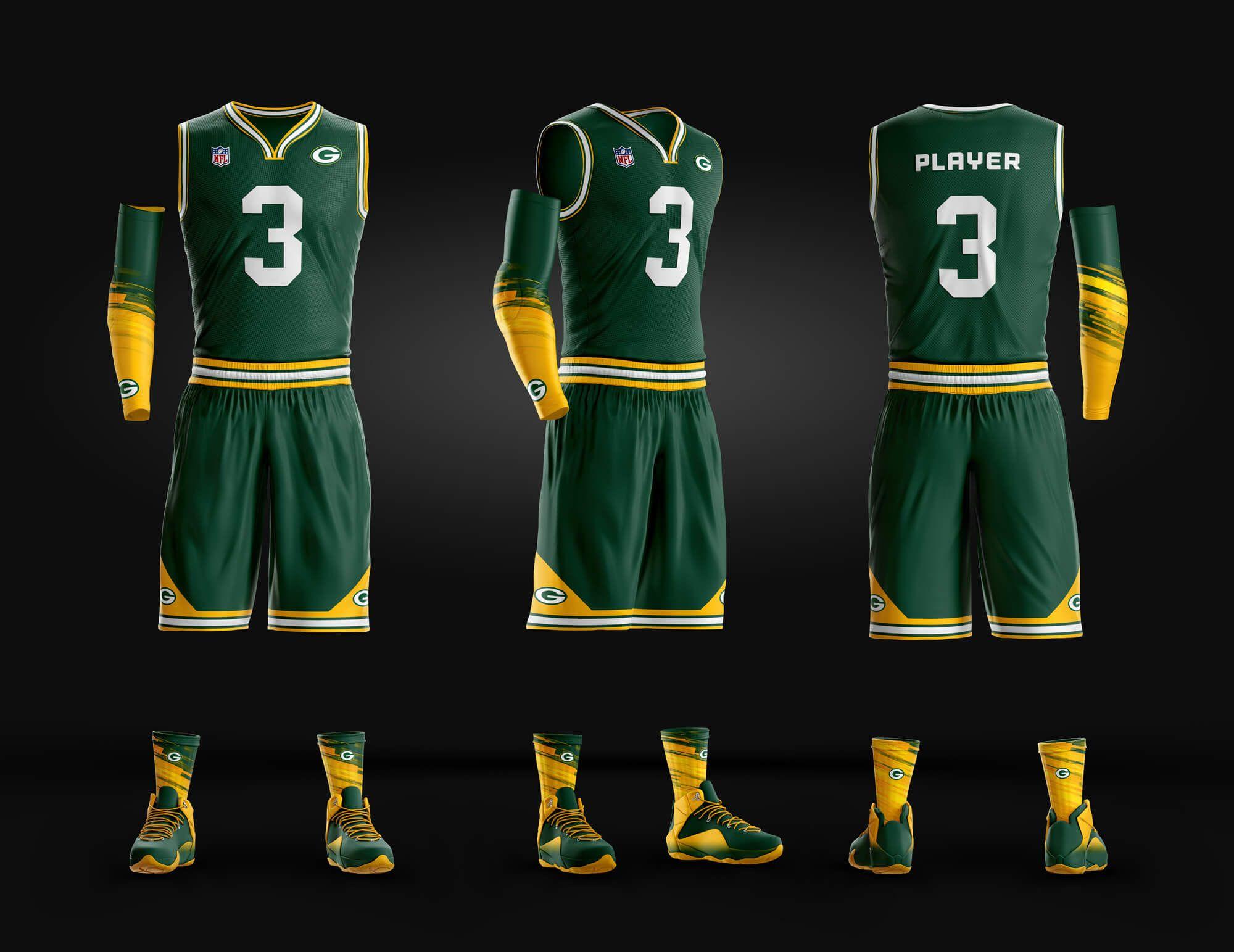 Basketball uniform psd template packers