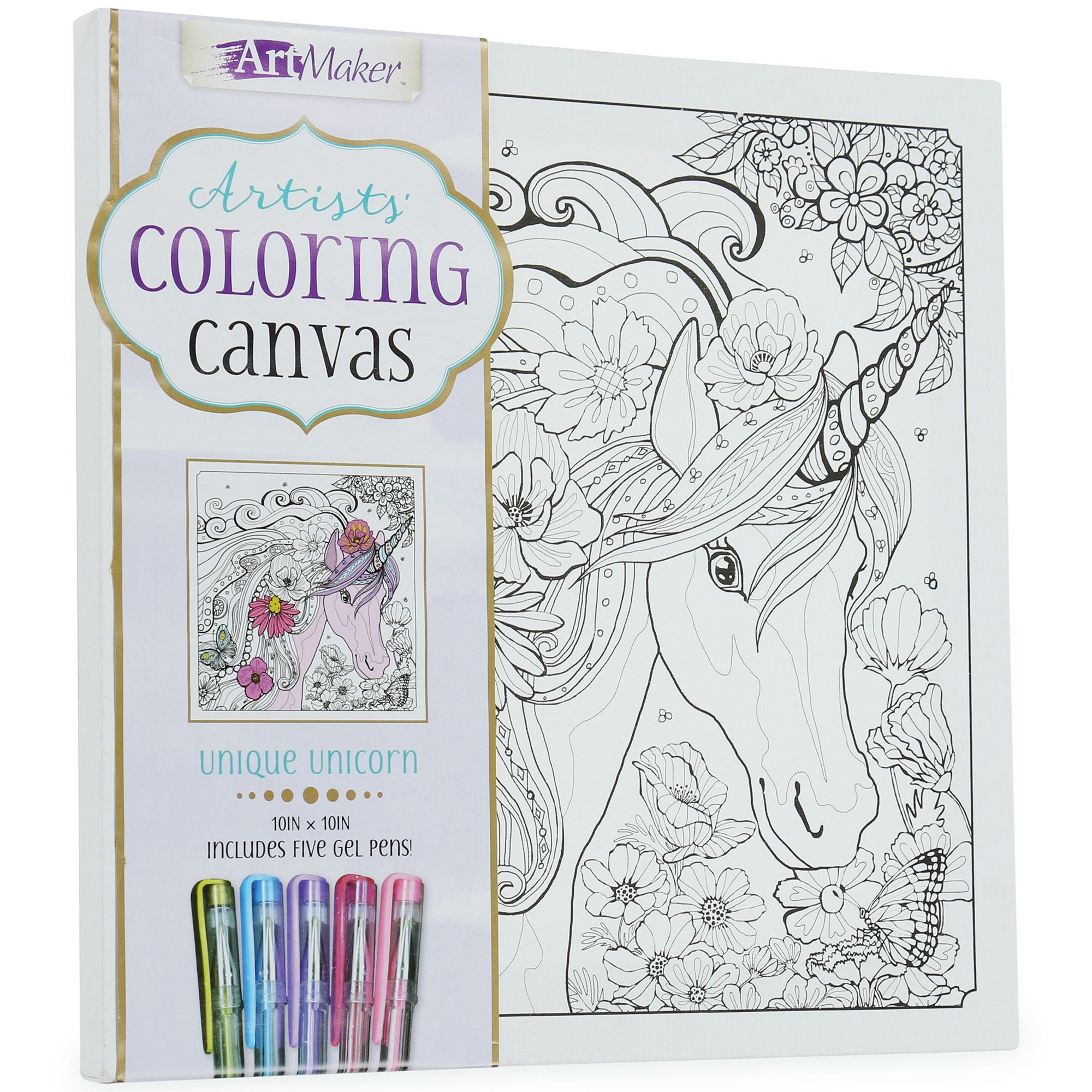 Artists Coloring Canvas With 5 Gel Pens 10in X 10in Five Below Coloring Canvas Gel Pens Cool Wall Art