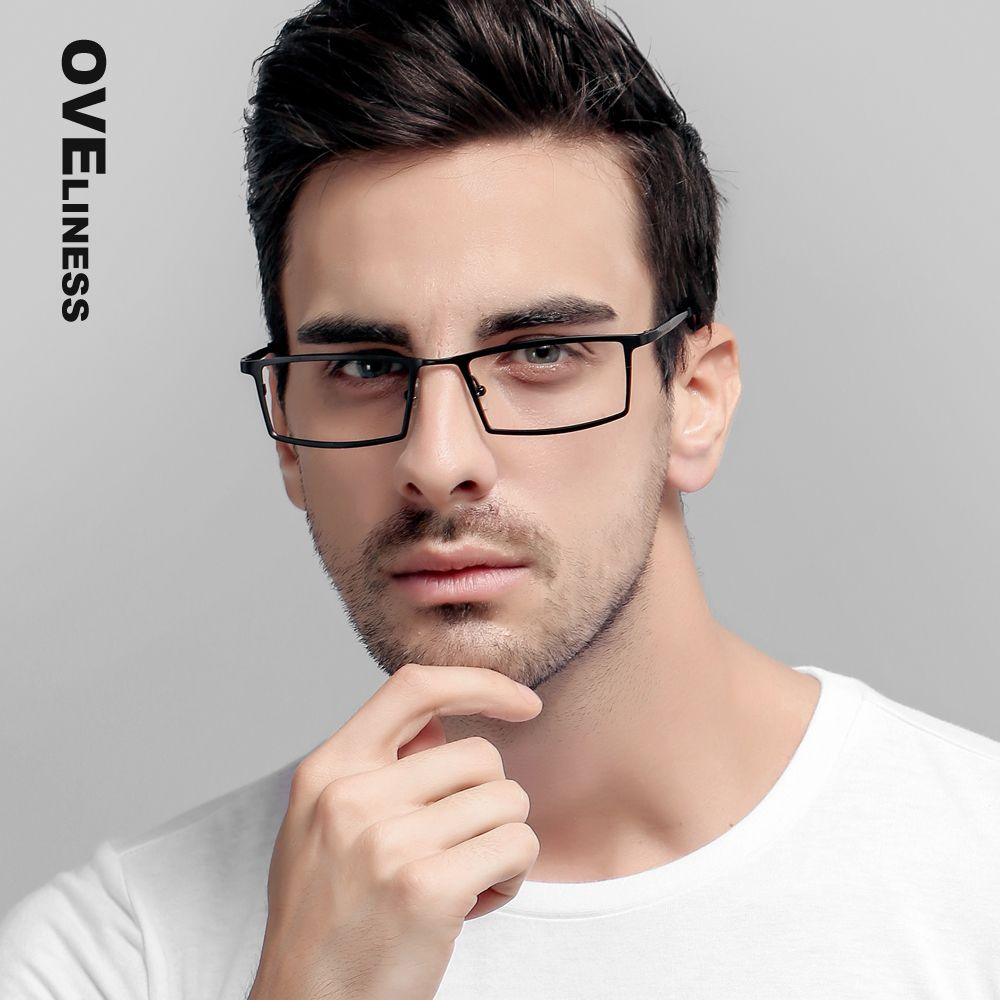e40a4558be27 Titanium Eyeglasses Frames Men Clear Lens Glasses Vintage Optical Frame  Prescription Eyewear Big Square Glasses Frames 8808