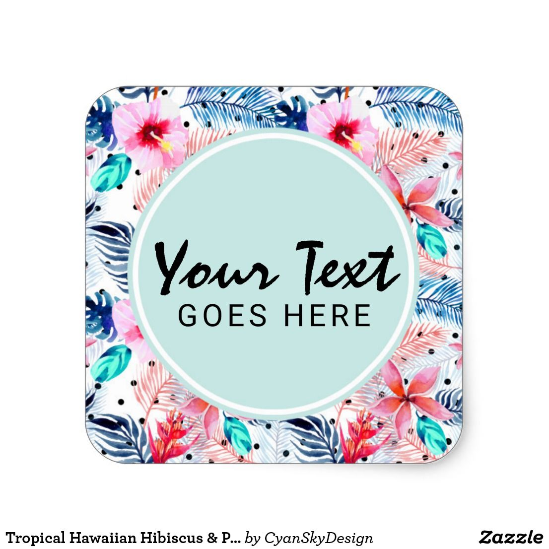 Tropical hawaiian hibiscus palm leaf watercolor square sticker • custom personalized text product packaging labels by cyanskydesign on zazzle