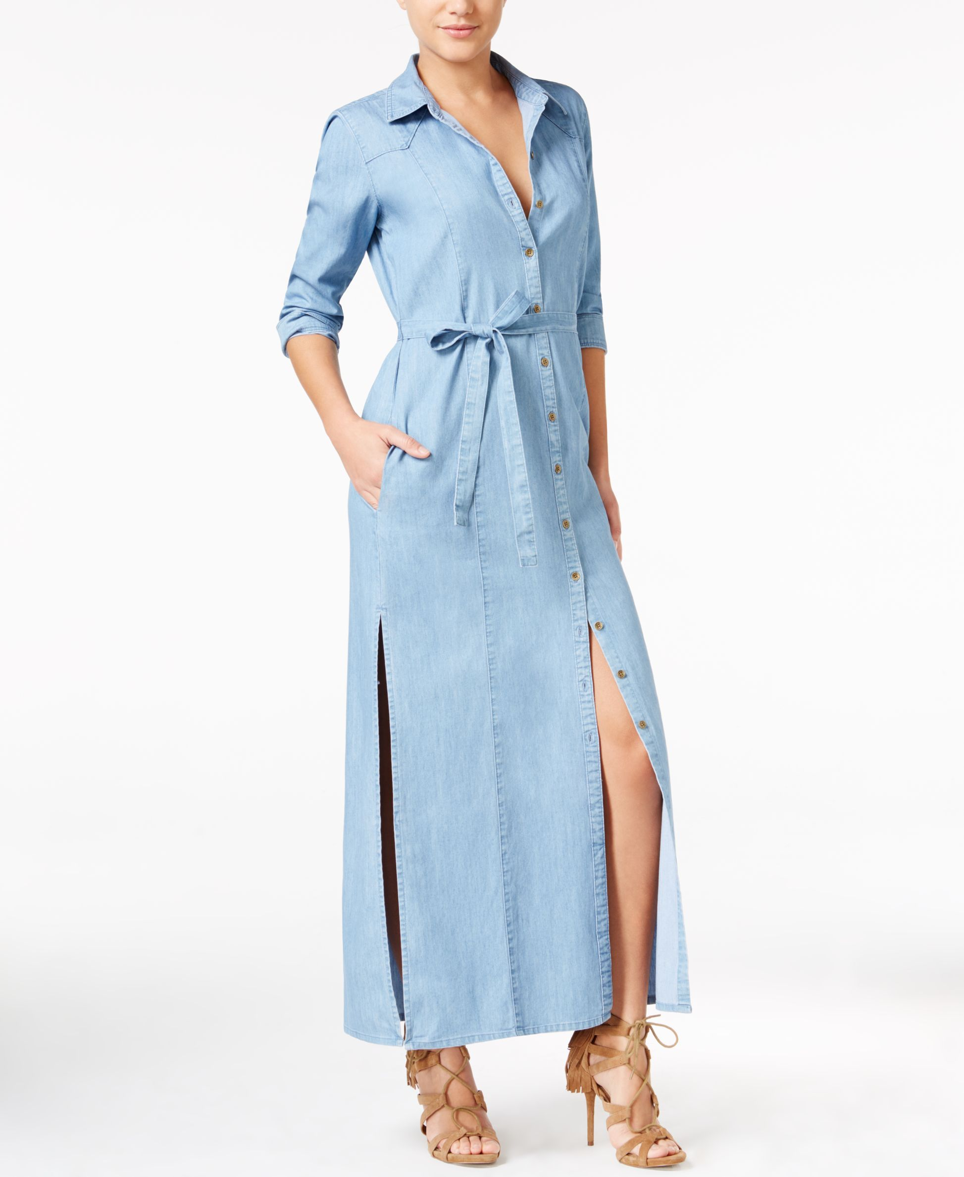 Guess Isadora Chambray Maxi Shirtdress | Products | Pinterest ...