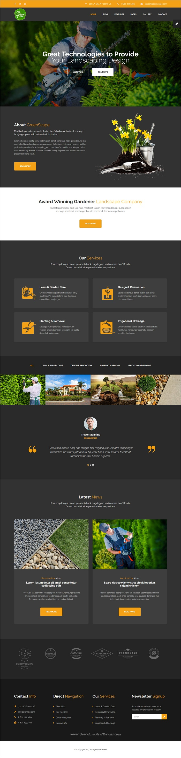 Greenscape - Lawn & Garden Landscaping HTML template with Visual ...