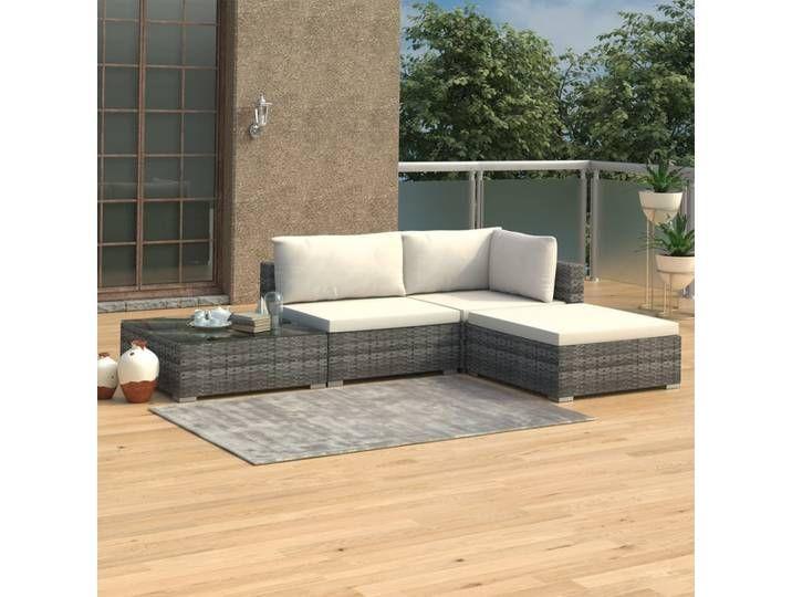 Vidaxl 4 Tlg Garten Lounge Set Mit Auflagen Poly Rattan Grau In