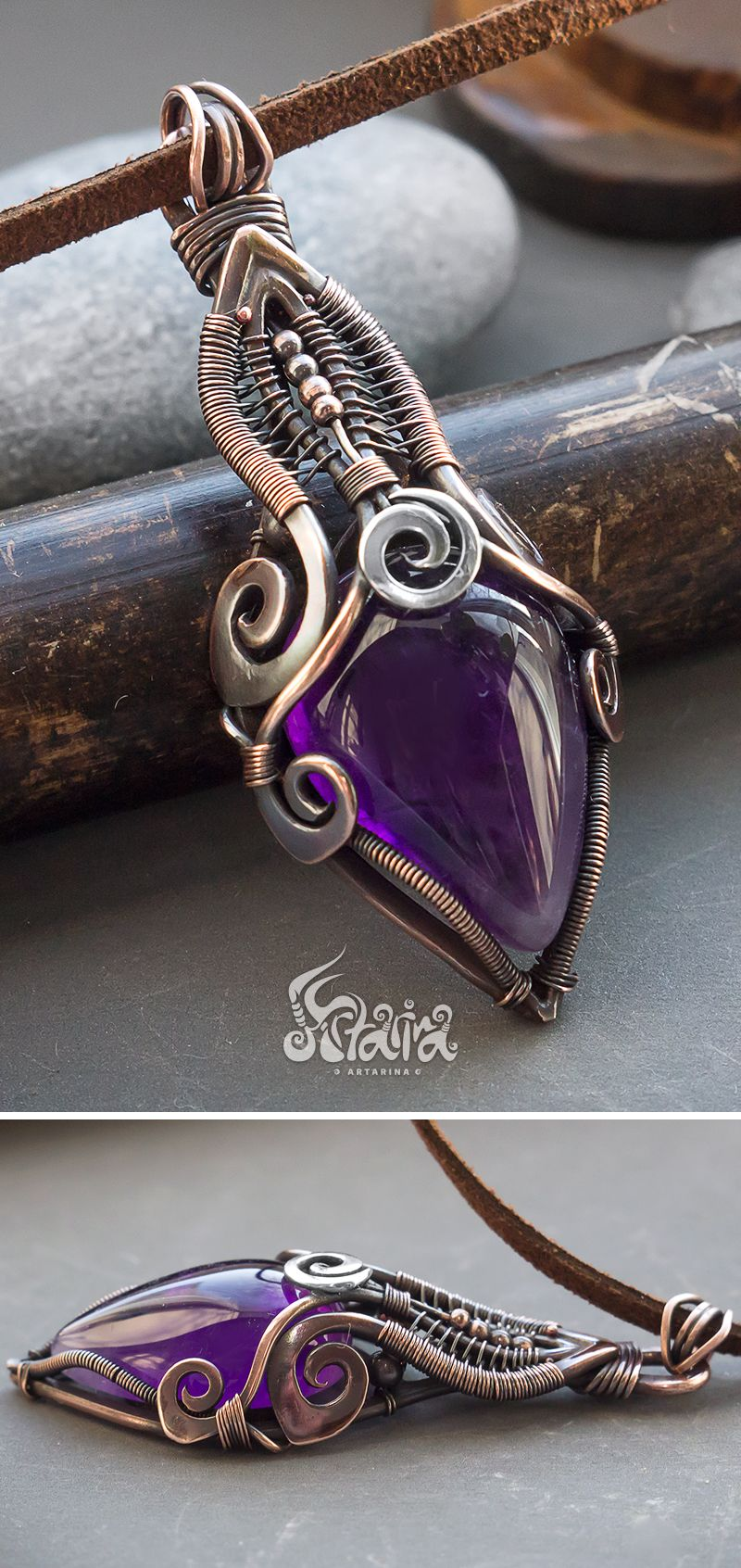Amethyst wire wrapped pendant // Mixed metals copper and silver wire ...