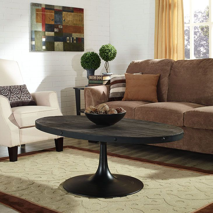 DRIVE WOOD TOP COFFEE TABLE IN BLACK Industrial MOD meets
